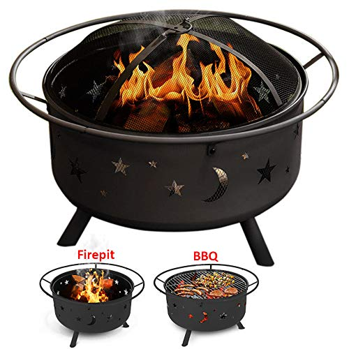 XEMQENER Round Fire Pit BBQ Ice Pit Patio Heater Stove Metal Outdoor Garden Moon and Stars Firepit