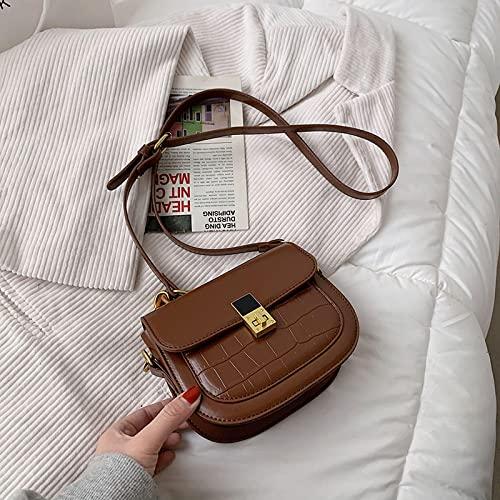 Dr&Phx Damen Für Umhängetasche Neue Damentasche Kleine Frische Satteltasche Einzelne Schulter Messenger Halbrunde Tasche Ausländischer Stil Einfache Modetasche Braun