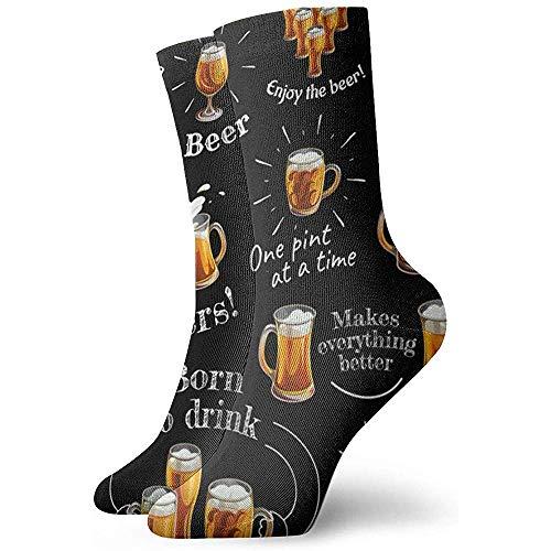 Kompressionssocken Biergläser Bunte Lustige Neuheit Crazy Crew Socken 30 cm