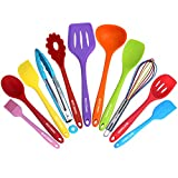 Kitchen Utensil Set - 11 Cooking Utensils - Colorful Silicone Kitchen Utensils - Nonstick Cookware...