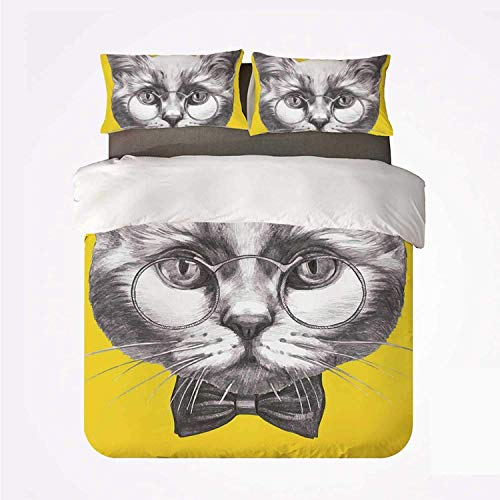 Juego de Funda nórdica Animal Nice Juego de 3 Camas, Retrato Dibujado a Mano de Lindo Gato con Gafas y Pajarita Sketch Hipster Print para Sala de Estar