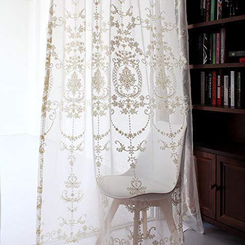 Cortina de hilo blanco,Cortinas Translúcidas bordada,Cortina de hilo de ventana salediza,Balcón/Salón Cortina transparente,1 piezas