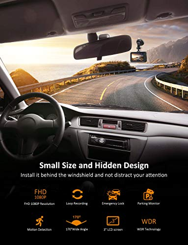 Pathinglek Dash Cam 1080P DVR Dashboard Camera FHD Car Driving Recorder 3 Inch Driving Camera LCD Screen, 170°Wide Angle, WDR, G-Sensor, Loop Recording, Parking Monitor, Motion Detection