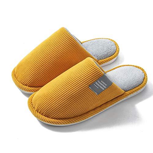 Zapatos Invierno Algodon Casa Slippers,Zapatillas de casa de Pareja de algodón, Pantuflas de Pana cálidas Antideslizantes-Amarillo_36-37,Zapatillas casa Confort de algodón
