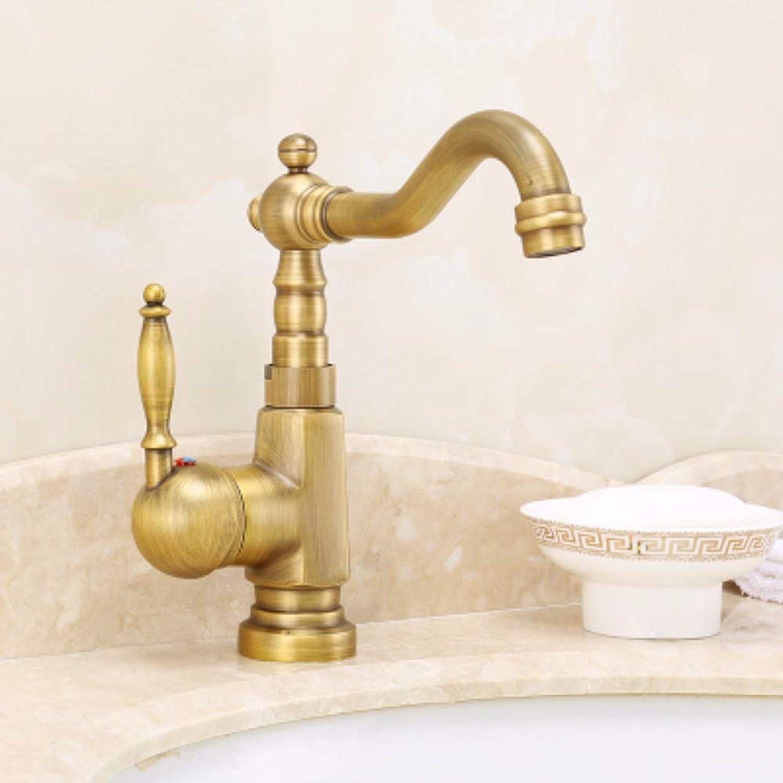 XHSSF-Bathroom taps European-Style All-Copper Cold-hot Antique redary Single-Hole Retro Faucet,C