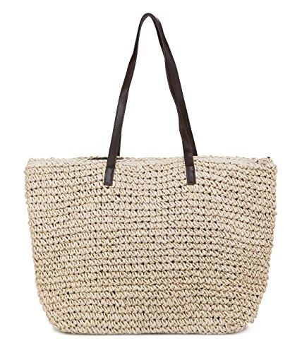 ILISHOP Women's Classic Woven Straw Tote Summer Beach Weaving Handbag Shoulder Bag (Beige)