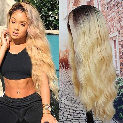 Figo&Donna Hair Long Wave Wigs for Black Women Lace Front Wigs with Baby Hair Ombre Blonde Synthetic Lace Front Wigs Natural Looking Hair Replacement Wigs 22'(Free Wig Cap)