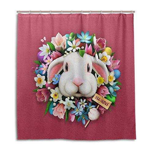 MyDaily Kaninchen Blume Ostern Duschvorhang 182,9 x 182,9 cm, schimmelresistent und wasserdicht Polyester Dekoration Badezimmer Vorhang