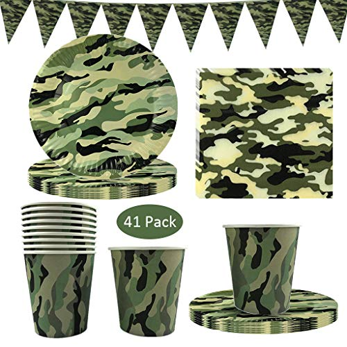 41PCS Camouflage Disposable Tableware, DreamJ Camouflage Party Supplies with Camo Plates Cups Napkins and Triangle Banner for Army Military Hunting Themed Party Camouflage Birthday Party Decorations