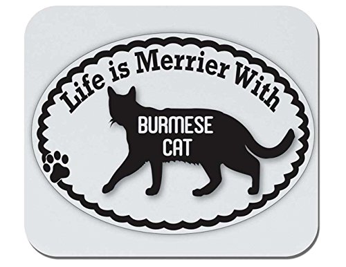 Makoroni - Life is Merrier with Burmese Cat - Non-Slip Rubber Gaming Office Mousepad, t60