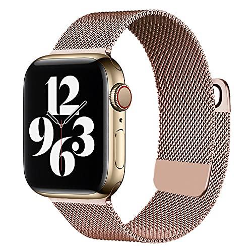 sresrrw Correa magnética de Malla de Acero Inoxidable Compatible con Apple Watch 42mm 44mm 45mm,Bandas para iWatch Series 7 6 5 4 3 2 1 SE para Mujeres Hombres (Rosa Rosa, 42mm/44mm/45mm)