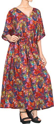 LA LEELA damskie stroje plażowe stroje kąpielowe rayon ręka Aloha bielizna nocna sukienka kaftan wiele maxi prezent wiosna lato 2017