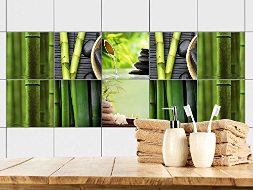 Fliesenaufkleber Bad Motiv - Wellness mit Bambus -Grün | Fliesen mit Fliesenbildern überkleben | 10 Motive | selbstklebende Folie für Badezimmer oder Kosmetik-Studio (15x15cm // Set 10 Stück)