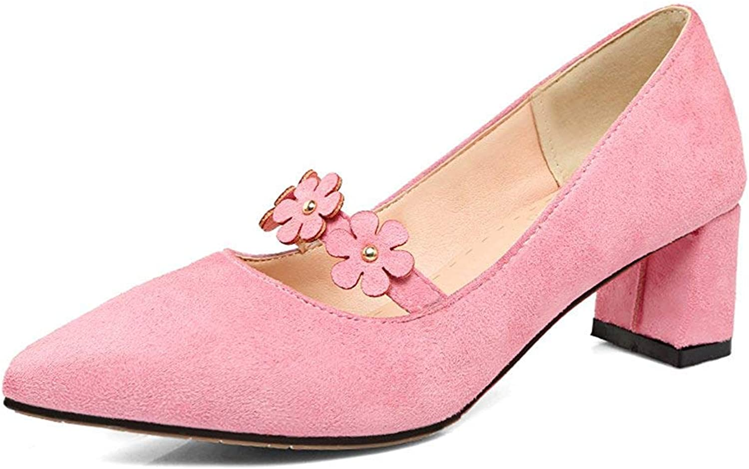 Unm Women's Floral Pointed Toe Faux Suede Dress Low Cut Chunky Mid Heels Slip On Pumps shoes