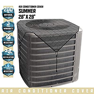 TANG Air Conditioner Mesh Cover for Outside Units, AC Top Cover 28''X28'' Air Conditioning Cover with Bungee Cords for All Seasons Keep Leaves Debris Out