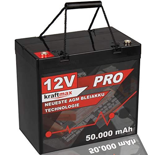 kraftmax Industrial Pro Bleiakku [ 12V / 50Ah / zyklenfest ] AGM Hochleistungs- Blei Akku der Neusten Generation
