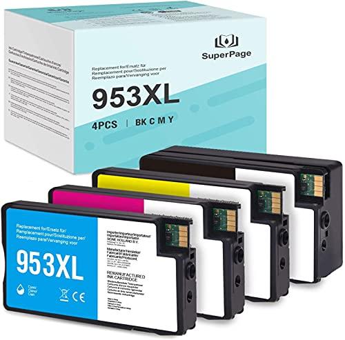 Superpage 953XL - 4 cartucce di ricambio per HP 953XL 953 XL con HP OfficeJet Pro 7740 7720 8710 8720 8730 8715 8210 7730 8725 8740 8718 (1nero/1ciano/1magenta/giallo)