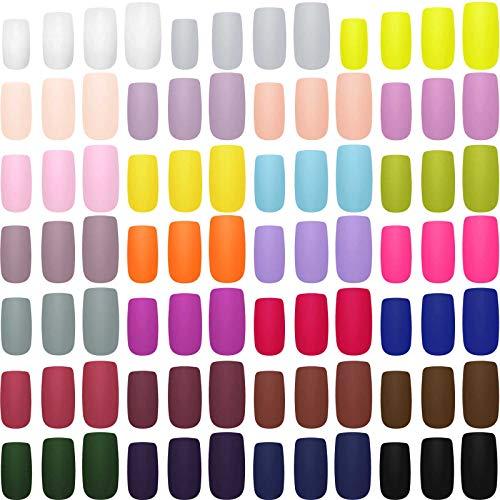 648 Piezas 27 Colores Uñas Cuadradas Medianas a Presión Mate de Cubierta Completa Uñas Postizas de Color Sólido de Ataúd Juego de Arte de Uñas Artificiales (Colores Mezclados)