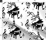 Spoonflower Stoff - Klaviermusik schwarz weiß Noten