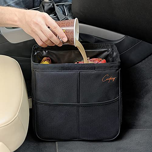 Creathing Car Trash Bag Hanging, 3 Gallons | Thick & Strong, Triple-Layer, Waterproof, Foldable | Auto Garbage Can for Console or Seat Back (Large, Black)