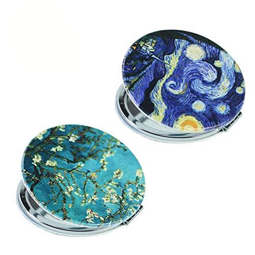 Lizimandu Metal Compact Mirror Set of 2 - 3X Magnifying Makeup Mirror - Perfect for Purses - Travel - 2-Sided with 3X Magnifying Mirror and 1X Mirror(Van Gogh Set)