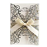 Best Wedding Invitations - AdasBridal 50Pcs Glitter Floral Laser Cut Wedding Invitation Review