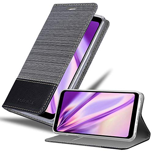 Cadorabo Hülle für LG Q Stylus - Hülle in GRAU SCHWARZ – Handyhülle mit Standfunktion & Kartenfach im Stoff Design - Case Cover Schutzhülle Etui Tasche Book