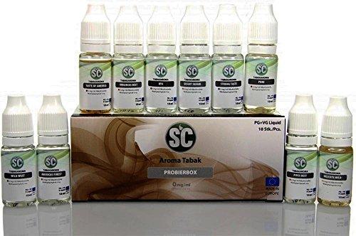 10x 10ml Set Liquids für E-Zigarette Shisha Probierbox verschiedene Sorten Liquid Ohne Nikotin TOBACCO