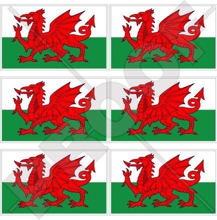 Pays de Galles Drapeau Gallois CYMRU UK 40 mm (40,6 cm) Téléphone Mobile Mini en vinyle autocollants, Stickers x6