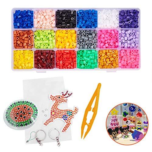 INTVN Planchado Perler Fusible Beads Kit con Accesorios DIY Manualidad Mini Plásticos Cuentas Abalorios para Niños 18 Colores 4800 Perler