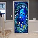 A.Monamour Sticker Porte Autocollant Poster de Porte 3D Bleu Océan Profond Nage sous-Marine Dauphin Poissons Jaunes Corail Vinyle Affiche de Porte Sticker Mural Papier Peint Art Décor 77 x 200 cm