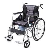 ZXGQF Silla de ruedas autopropulsable, Silla de ruedas de tránsito plegable, Bolsillo de almacenamiento, cinturón seguridad, para transporte mayores y discapacitados (gray)