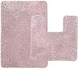 Gorilla Grip Original Shaggy Chenille 2 Piece Area Rug Set, Many Colors, Includes Square U-Shape Contour Toilet Mat & 30x20 Bathroom Rugs, Machine Wash Plush Mats for Tub Shower, Bath room, Light Pink