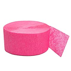 1 roll of bright pink crepe paper streamers Crepe streamer measures 81 ft. long Stylish for your bachelorette party or sweet sixteen party Great for decorating ceilings, walls or furniture