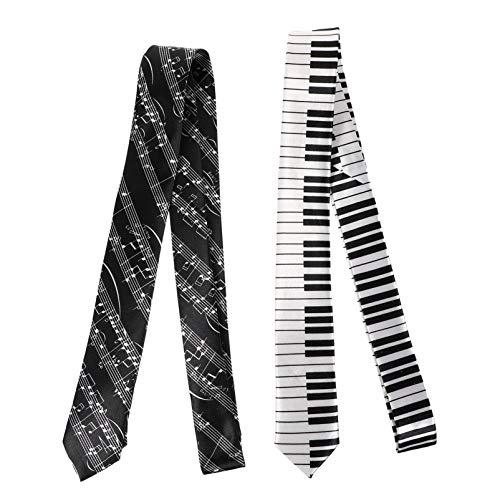 SOIMISS 2 Pezzi Mens Cravatte con Stampa Musicale Cravatte Cravatte Cool Cravatta a Doghe Cravatta Casual Cravatta da Uomo Cravatta Cravatta per Matrimoni Feste Costumi