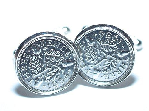 Manchettes anniversaire 1934 81st Argent Boutons de manchette en véritable pièces de monnaie
