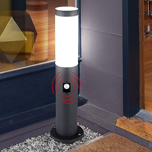LED Sockel Leuchte Außen Bewegungsmelder Edelstahl Terrassen Wege Steh Lampe Garten Strahler anthrazit