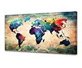 A62050 Baisuwallart Abstract World Map Canvas Painting Vintage Posters and Prints Colorful Wall Art Wall Pictures Modern Artwork Framed Ready to Hang for Living Room Bedroom Office Home Decor