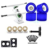 <span class='highlight'><span class='highlight'>LILI</span></span> Skateboard truck-skateboard standard truck 2pcs scooter with 70 * 51MM wheel lifting pad bearing accessories, suitable for longboard (White blue flash)