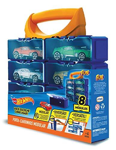 Hot Wheels Porta Carrinhos Modular para 8 Hot Wheels Azul - carrinhos não incluídos