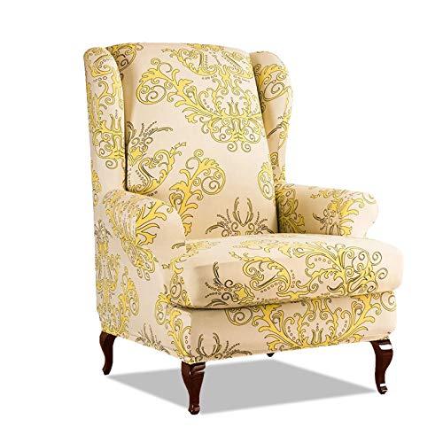 PETCUTE Sesselbezüge Ohrensessel Bezug Stretch Sesselbezug für Ohrenbackensessel Husse Passt Perfek für Ohrensessel mit Muster Blumen Gelb