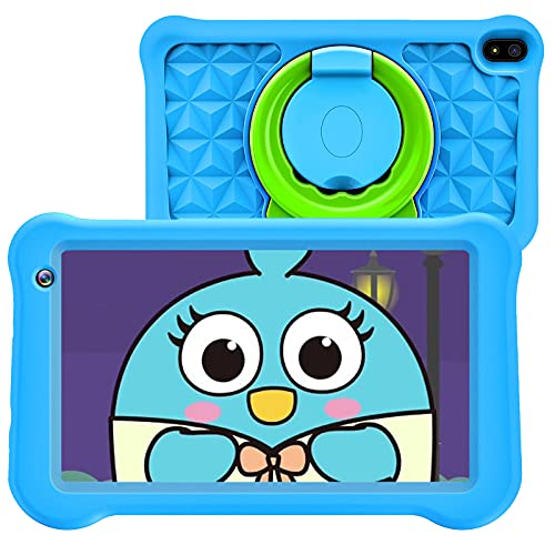 Tablet for Kids, Android 10 Kids Tablet, 7 Inch IPS Display, 2GB RAM, 32GB Storage, Dual Camera, Games, Parental Control, Kidoz Pre-Installed, GPS Children Tablet with Kids-Proof Case, Blue
