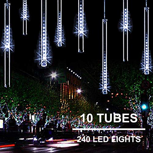 11.8 inch 10 Tubes 240 LED Meteor Shower Raindrop Lights with Timer Function Cascading Lights LED Icicle Lights Falling Raindrop Lights for Holiday Party Wedding Christmas Tree Decoration (White)