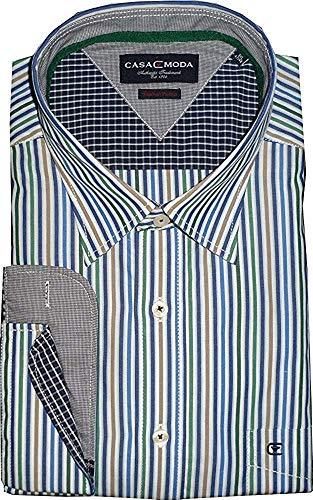 CASA MODA Premium Coton Bleu Vert Rayé Chemise avec Contraste Col & Poignets Taille XL à 7XL - Multicolore, Multicolore, 6XL (Col 21 / Poitrine 71 Pou