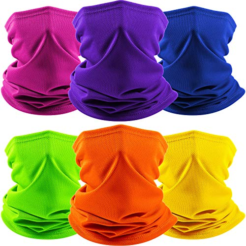 6 Pieces Summer Neck Gaiter Face Cover Scarf Breathable Face Balaclava Tube for Men Women Fishing Hiking Climbing (Color Set 3)