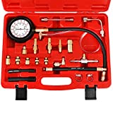 JIFETOR Fuel Injection Pump Pressure Tester Gauge Kit, Car Gasoline Gas Fuel Oil Injector Test Manometer Tool Set 0-140PSI, Universal for Auto Truck SUV Motorcycle ATV RV
