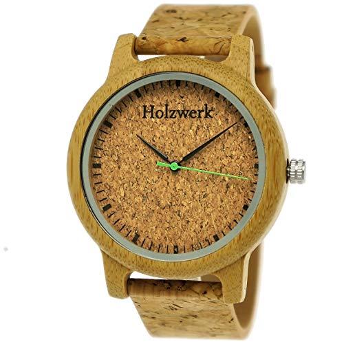 Holzwerk Germany - Reloj de pulsera unisex para hombre y mujer, ecológico y natural, con correa de corcho y esfera (marrón)