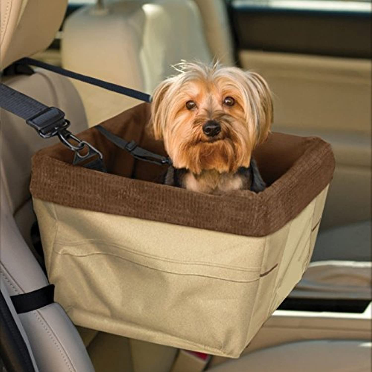 Pet Dog Car Booster Seat with Seat Belt Tether Dog Travel Cage Car Front Seat Waterproof ( orange Coffee) (coffee)