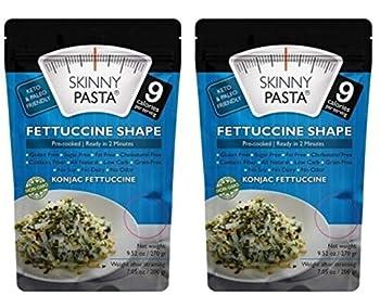 Skinny Pasta Konjac Fettuccine Shape  Shirataki Noodles  Keto Paleo Gluten-Free Healthy Diet 9.25 Oz  2-Pack