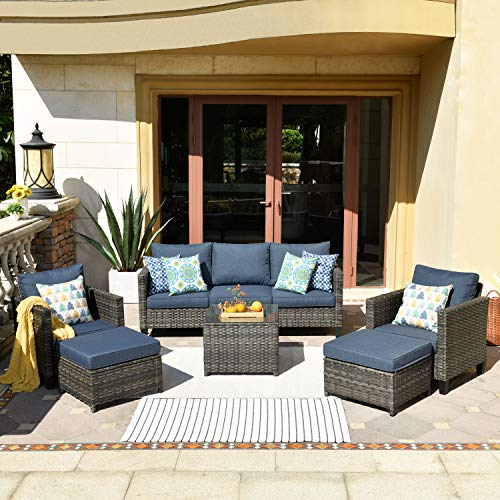 XIZZI Patio Furniture Sets,Outdoor Sectional Furniture with 2 Pillows,Garden Sofa Set with Glass Table (6 Pieces, Denim Blue)
